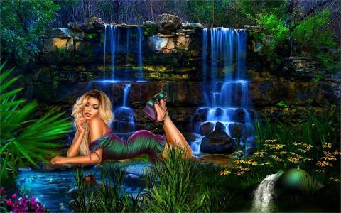 瀑布,水,岩石,女孩,衣服