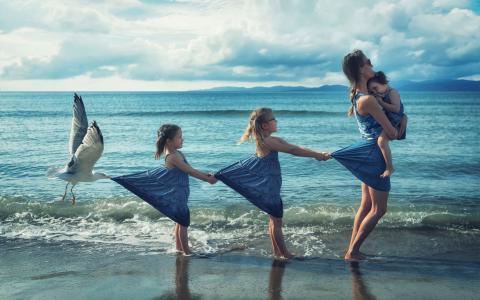 照片,海,孩子,母亲,鸥,创意,主题,人,情况