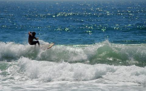海,冲浪,波浪