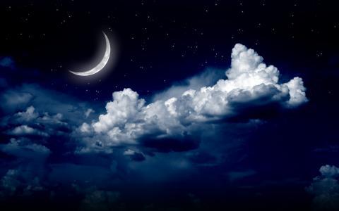 天空,星星,月亮,云,黑暗的背景