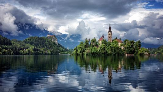 苍白的湖面,文字,美丽,自然,反射,山,天空,云,寺庙