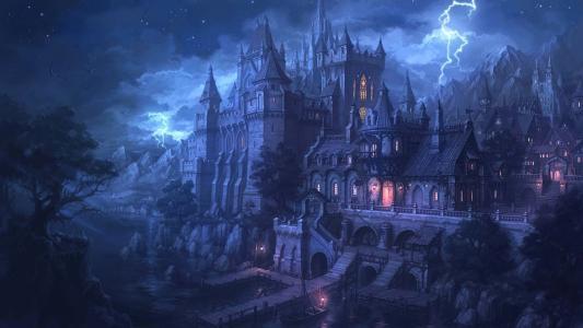 晚上,堡垒,城堡,码头,水,闪电,灯