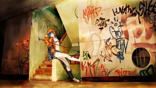 动漫,涂鸦,墙,vocaloid,miku,麦克风,音乐