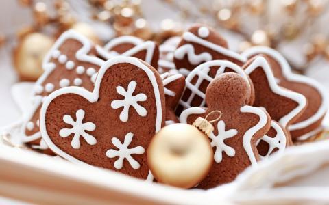 新的一年,饼干,圣诞节,假期,圣诞球