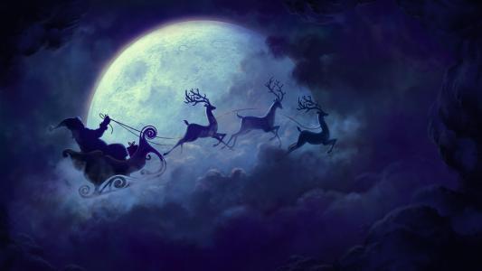 绘图,绘图,度假,新的一年,圣诞节,圣诞老人,鹿,线束,雪橇,晚上,月亮,天空