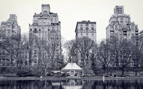 市,纽约,中央公园,湖,纽约,中央公园