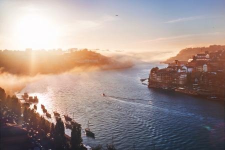 河,葡萄牙,波尔图,早晨,雾
