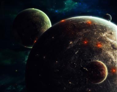 行星,卫星,小行星,星舰,爆炸,耀斑