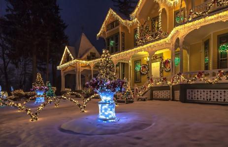 晚上,灯,新年,房子,冬天,雪,圣诞树,花环