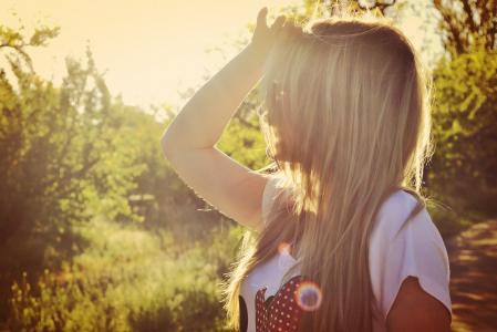 夏天,女孩,喜悦,太阳