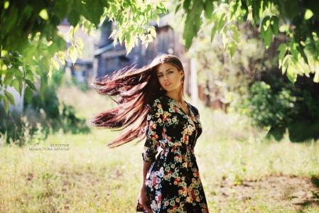 女孩,长头发,在大自然中,摄影师,натальяменьтюгова