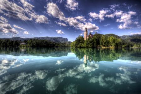 斯洛文尼亚,景观,湖,天空,云,布莱德岛,性质,夏天