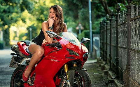 摩托车,微笑,女孩