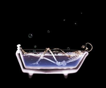在浴室骨架,水程序,放松,黑暗的背景