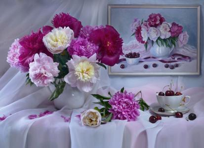 静物,花瓶,鲜花,牡丹,杯,浆果,樱桃,模式,布,窗帘