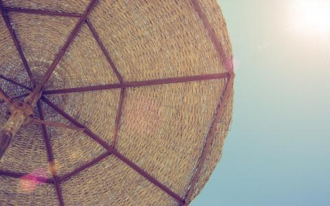伞,休息,阳光,大海,沙滩