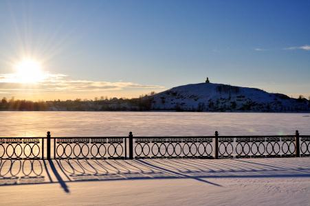 日落,冬季,太阳,景观,阴影,雪