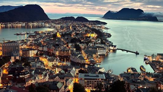 挪威,城市,灯光,照明,房屋,建筑物,山,日落,水,美女