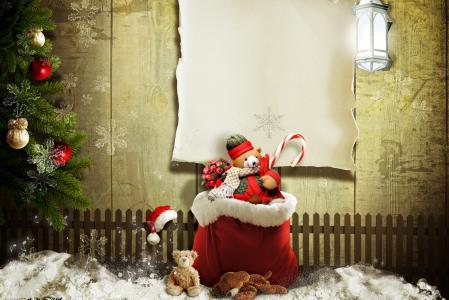 圣诞树装饰品,灯笼,袋子,圣诞树,篱笆