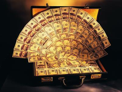 手提箱,钱,风扇,美元
