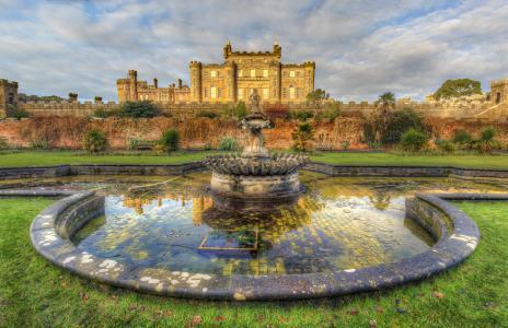 城堡,花园,苏格兰,城堡,苏格兰,喷泉