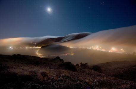 照片,晚上,小山,路,雾,天空,月亮