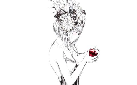 艺术,女孩,苹果,鲜花,绘画,sawasawa