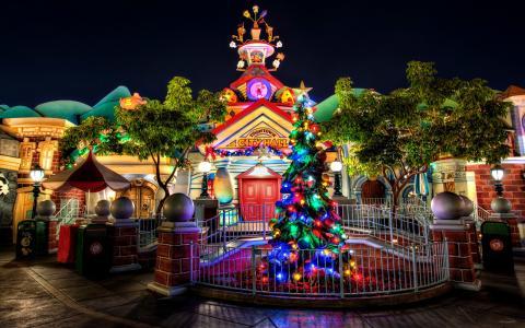 圣诞树,球,房子,多彩,美丽