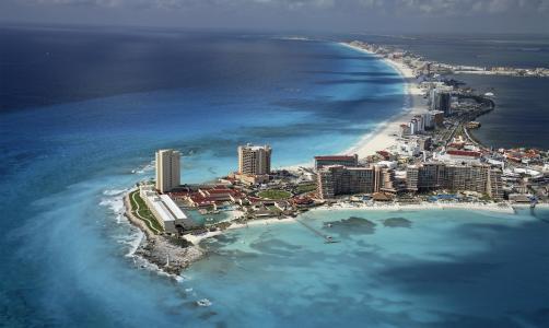 墨西哥,海滩,度假村,海,海洋,岛,天空