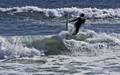 泡沫,冲浪,波浪,喷雾,海洋,冲浪,西装,海