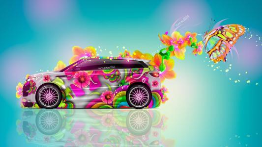 托尼·科汉,托尼·柯恩,托尼·柯恩,托尼·柯恩,托尼·科汉,路虎,Evoque,侧面,幻想,鲜花,Multicolors,Aerography,蓝色,粉红色,