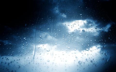 滴,雨,玻璃,阴