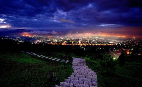 照片,大自然,山,晚上,城市,灯,美丽