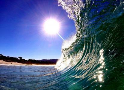 海洋,波浪,美女,沙滩,阳光