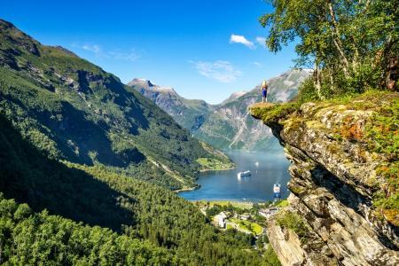 自然,挪威,山,船,衬板,美丽