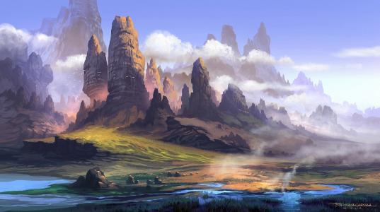 图片,绘画,山,自然,河,流,鸟,云