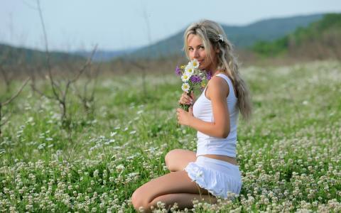 女孩,花束,野花,夏天,娜塔莉亚阿甘