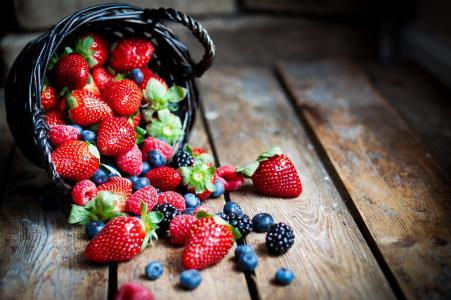 水果,草莓,越桔,篮子,美味