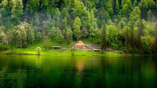 大自然,湖,山,美丽
