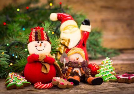 假期,新的一年,分支机构,云杉,毛皮树,玩具,雪人,圣诞老人
