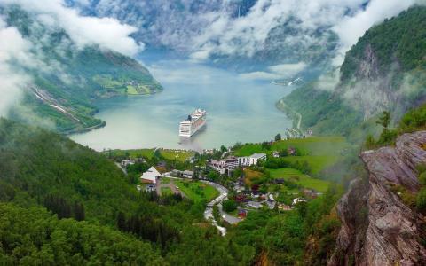 挪威,镇,船,雾,峡湾,美丽