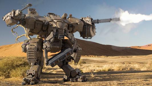 机枪,沃克,火,沙漠,机器人,射击