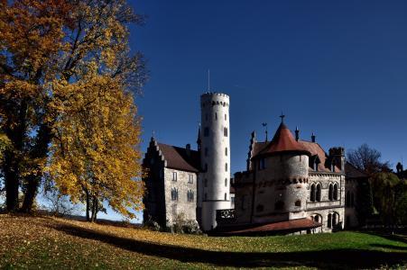 叶子,城堡,秋天