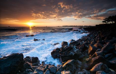 海岸,夏威夷,海洋,日落,夏威夷,石头