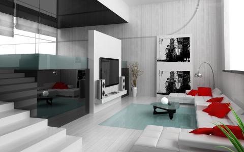 公寓,枕头,图片,电视