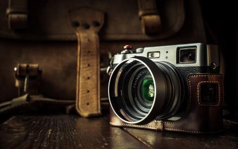 照片,黑暗的背景,公文包,相机