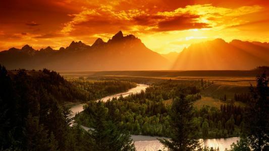 河,弯曲,森林,山,天空,太阳