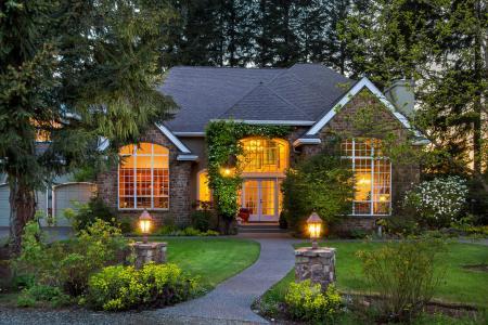 房子,晚上,草坪,草,灌木,灯笼