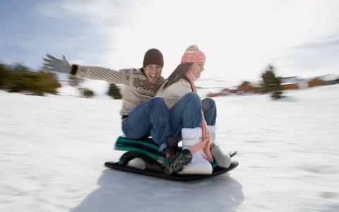 家伙,女孩,夫妇,雪橇,下来,从山上,雪,一天,太阳