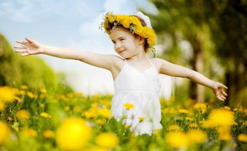 女孩,草地,蒲公英,花圈,心情,夏天
